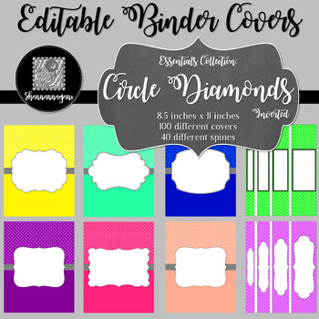 Binder/Document Covers & Spines - Essentials: Circle Diamonds (Inverted)