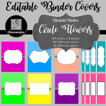 Binder/Document Covers & Spines - Essentials: Circle Flowers