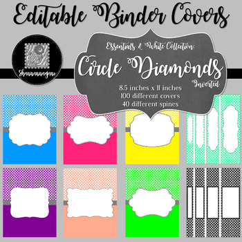 Binder/Document Covers & Spines - Essentials & White: Circle Diamonds(Inverted)