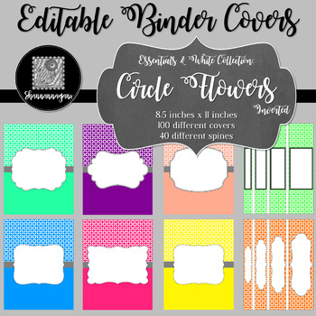 Binder/Document Covers & Spines - Essentials & White: Circle Flowers (Inverted)