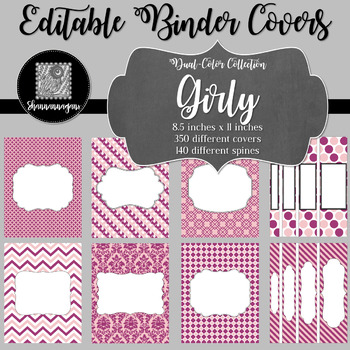 Binder/Document Covers & Spines - Dual-Color: Girly