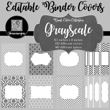 Binder Covers and Spines - Grayscale   Editable PowerPoint