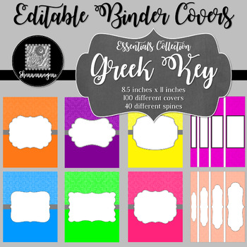 Binder Covers and Spines - Greek Key | Editable PowerPoint
