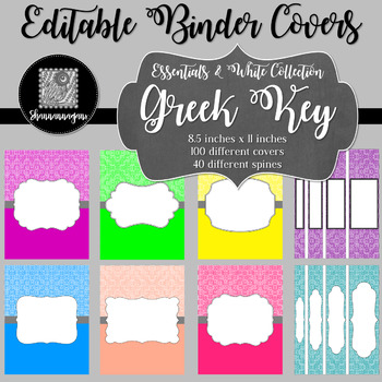 Binder Covers and Spines - Greek Key and White | Editable PowerPoint