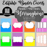 Binder Covers and Spines - Herringbone and White | Editable PowerPoint