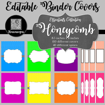 Binder Covers and Spines - Honeycomb | Editable PowerPoint