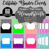 Binder Covers and Spines - Houndstooth and White | Editable PowerPoint