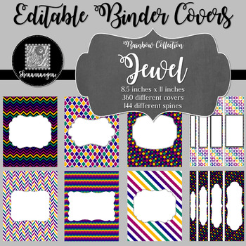 Binder Covers and Spines - Jewel | Editable PowerPoint