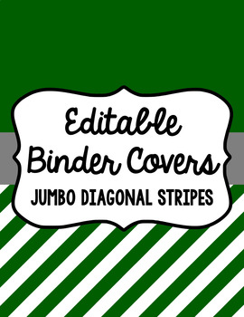 Binder Covers and Spines - Jumbo Diagonal Stripes & White | Editable PowerPoint