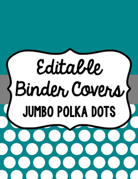 Binder Covers and Spines - Jumbo Polka Dots and White | Editable PowerPoint