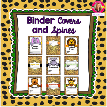 Binder Covers and Spines {Jungle-Safari Themed}