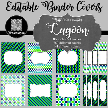 Binder Covers and Spines - Lagoon | Editable PowerPoint
