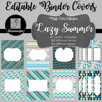 Binder Covers and Spines - Lazy Summer | Editable PowerPoint