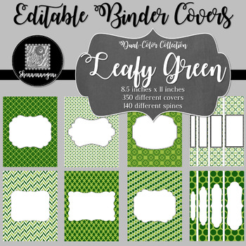 Binder Covers and Spines - Leafy Green   Editable PowerPoint