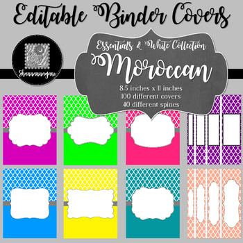 Binder Covers and Spines - Moroccan and White | Editable PowerPoint
