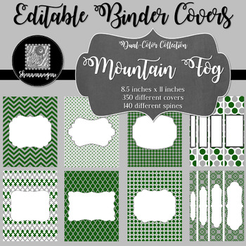 Binder Covers and Spines - Mountain Fog | Editable PowerPoint