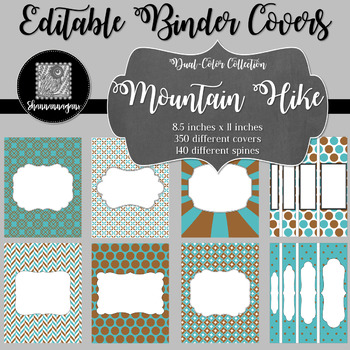 Binder Covers and Spines - Mountain Hike | Editable PowerPoint