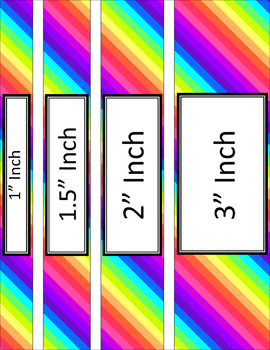 Binder/Document Covers & Spines - Rainbow: Neon