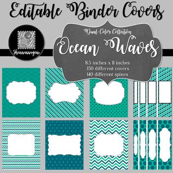 Binder Covers and Spines - Ocean Waves | Editable PowerPoint