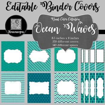 Binder/Document Covers & Spines - Dual-Color: Ocean Waves