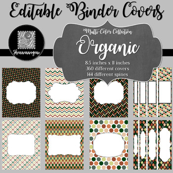 Binder Covers and Spines - Organic   Editable PowerPoint