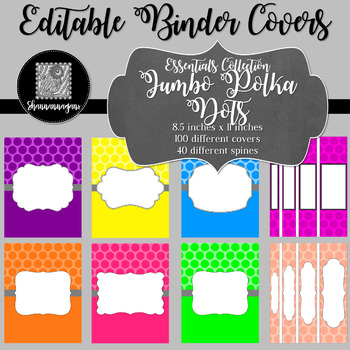 Binder Covers and Spines - Polka Dots | Editable PowerPoint
