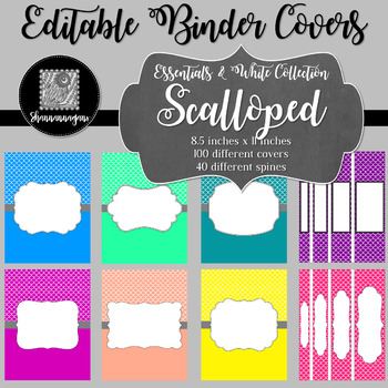 Binder Covers and Spines - Scalloped (Mermaid) and White | Editable PowerPoint