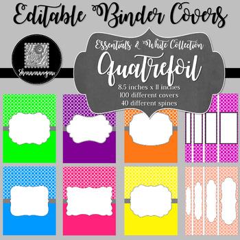 Binder/Document Covers & Spines - Essentials & White: Quatrefoil