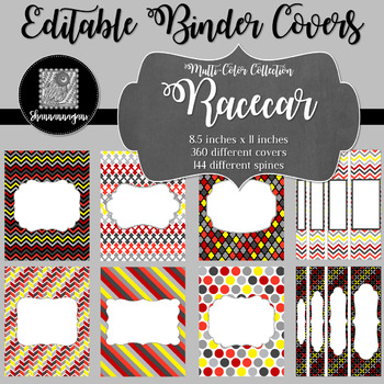 Binder Covers and Spines - Racecar | Editable PowerPoint