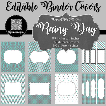 Binder Covers and Spines - Rainy Day | Editable PowerPoint