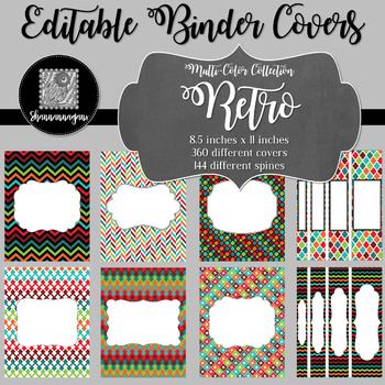 Binder Covers and Spines - Retro | Editable PowerPoint