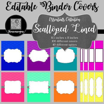 Binder Covers and Spines - Scalloped Lined   Editable PowerPoint