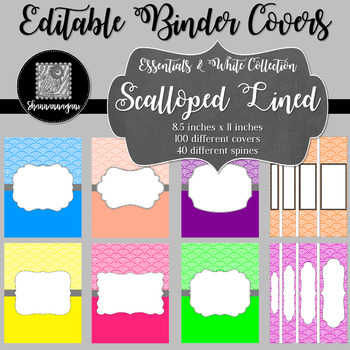 Binder Covers and Spines - Scalloped Lined and White | Editable PowerPoint