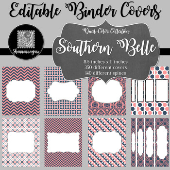 Binder Covers and Spines - Southern Belle | Editable PowerPoint