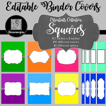 Binder Covers and Spines - Squares | Editable PowerPoint