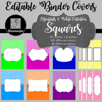 Binder/Document Covers & Spines - Essentials & White: Squares