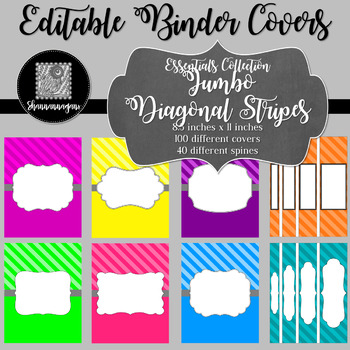 Binder Covers and Spines - Stripes | Editable PowerPoint