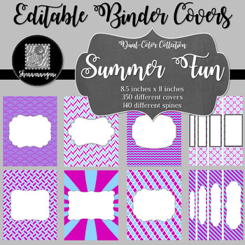 Binder Covers and Spines - Summer Fun | Editable PowerPoint