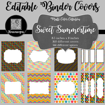 Binder Covers and Spines - Sweet Summertime | Editable PowerPoint