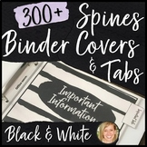Teacher Planner Binder Covers and Spines, Tabs- Black and White Classroom Theme