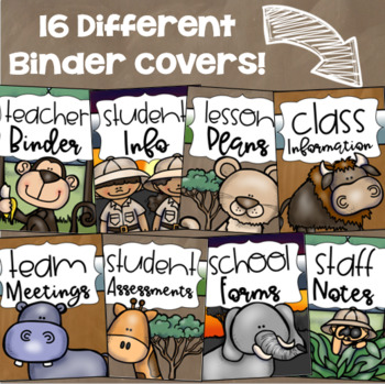 Binder Covers and Spines Teacher Planner Editable Jungle Safari Theme