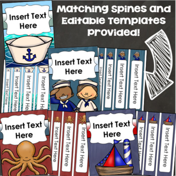 Binder Covers and Spines Teacher Planner Editable Nautical Sailing Sailor Theme