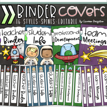 Binder Covers and Spines Teacher Planner Editable Outer Space Theme