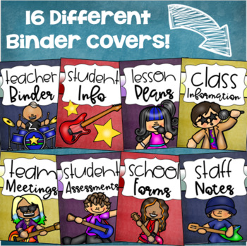 Binder Covers and Spines Teacher Planner Editable Rockstar Rock and Roll Theme
