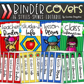 Binder Covers and Spines Teacher Planner Editable Superhero Theme