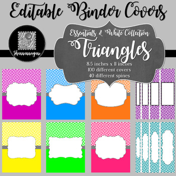 Binder Covers and Spines - Triangles and White   Editable PowerPoint
