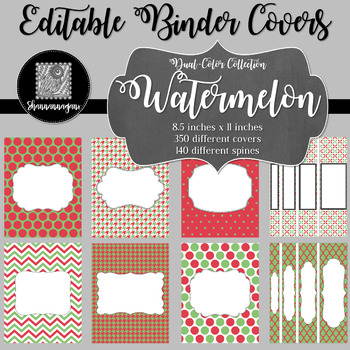Binder Covers and Spines - Watermelon | Editable PowerPoint