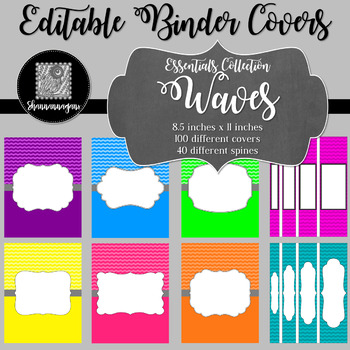 Binder Covers and Spines - Waves | Editable PowerPoint