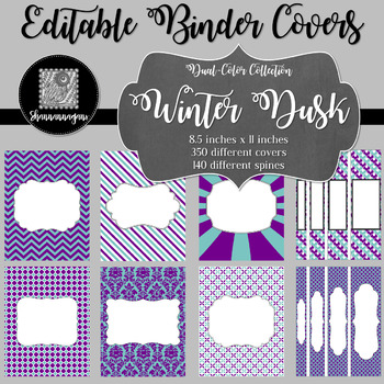 Binder Covers and Spines - Winter Dusk   Editable PowerPoint