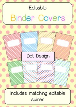 Binder Covers and spines - Dot themed - Editable